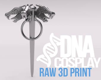 Daenerys Targaryen Three-headed Dragon Pin - Raw 3D Print (Game of Thrones) Cosplay