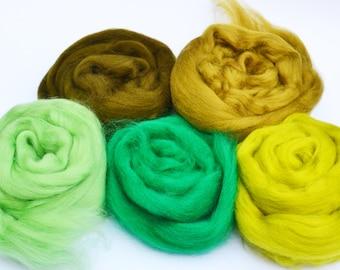 Merino wool tops, merino wool roving, felting wool, spinning wool, merino 64, wool for felting, green merino wool, fiber, textile supplies