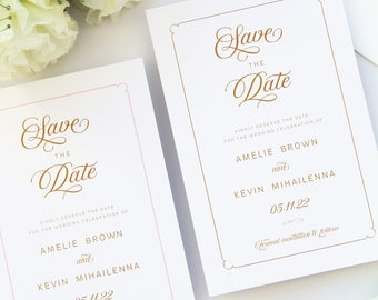 Paris Golden Save the Date Cards, Printable Save the Date Cards or Printed Save the Date, Elegant Calligraphy Stationery, Chic Wedding