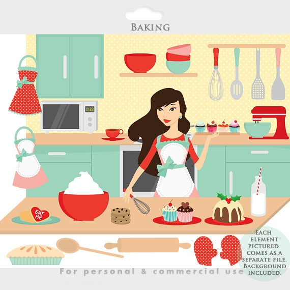 Baking Clipart Cooking Clip Art Kitchen Girl Aprons