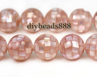 10 pcs natural pink MOP round ball shell bead, mosaic bead, Mother of Pearl,sea shell,MOP,handcrafted,wholesale beads,10mm 12mm forchoose