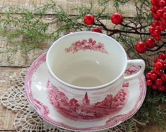 Johnson Brothers Pink Transferware  Mismatched Tea Cup & Saucer Set, Tea Party, English Bone China, Downton Abbey Inspired, Britains Castles