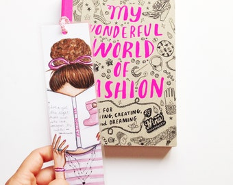 Illustrated bookmark, Girly bookmark, Planner book marker, Laminated paper bookmarker, Bookmarks for books, Unique bookmark, Book lover gift