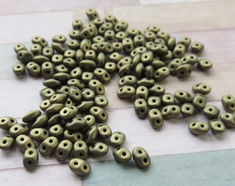 Metallic Suede Gold SuperDuo 2 Hole Seed Beads, 10 grams - Item 5364