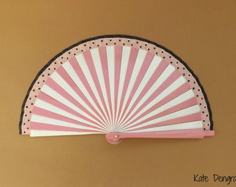 Black Polka Dot Pink and White Stripe 19cm Wood Fabric Hand Fan Multi Striped Stripy Handheld Folding Fashion Fan by Kate Dengra Spain