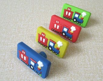 Kids Dresser Knobs Pulls / Childrens Drawer Knob Handles Train Car Knobs Blue Yellow Green Red Colorful Furniture Knob Pull Handle Hardware