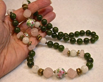Vintage Spinach Nephrite Jade Bead Knotted Necklace, Vintage Rose Quartz Dice Shaped Beads ,Vintage Chinese Porcelain,Vintage Snow Quartz