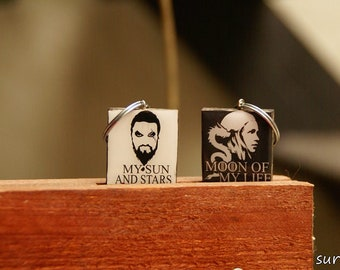 Couple keychains!Moon of my life-My sun and Stars.Khaleesi and Khal Drogo black and white .