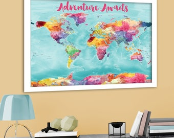 Colorful World Map, Bright World Map with US States, Cities, Large detailed world map, Canvas world map print, watercolor map, Push Pin Map