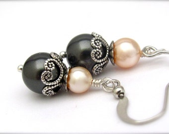 Gray Pearl Earrings, Pearl Bead Dangles, Peach and Gray Wedding Jewelry, Bridesmaid Jewelry Sets, Peach Bridal, Bride on a Budget