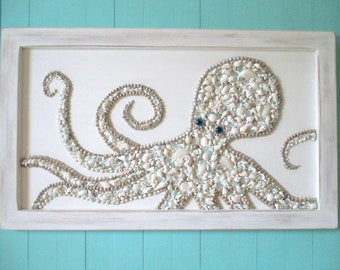 Seashell/Glass Octopus Framed, Turquoise/Champagne, Glass Eyes, Large