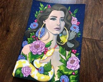 Original Lana del rey gouache A4 painting