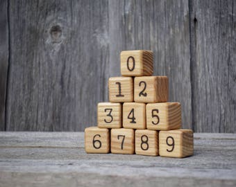 Wood number blocks, Wood blocks, Number cubes, Building blocks, Toddler gift, Baby shower gift, Montessori math