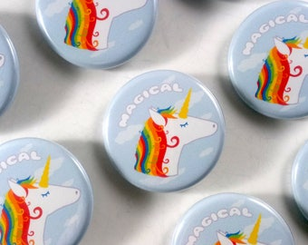 Magical Unicorn Button (1.25 in) / Pin back Button / Rainbow / Cute / Small Gift