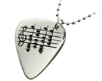 Custom Music Note Guitar Pick Necklace, Sheet Music Notes, Real Guitar Pick, Sterling Stamped Guitar Pick, Musician Gift, Graduation 15