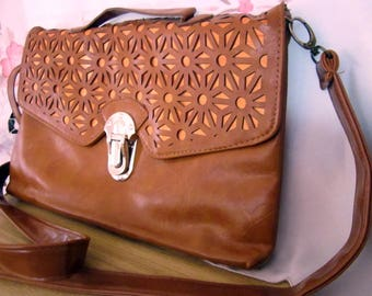 Orange Brown Open-Work Front Faux(?) Leather Cross Body / Shoulder Purse , Vintage
