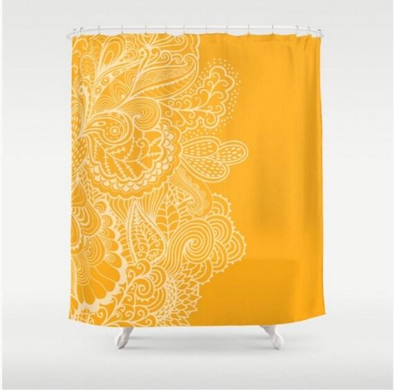 Marigold Yellow Orange Shower Curtain Mehndi India Indian