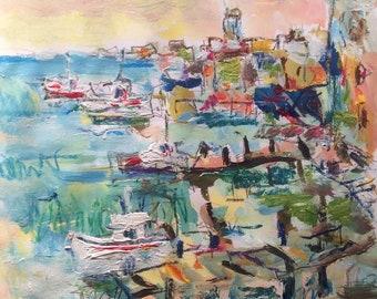 Port et docks océan côté pêche port mer côtière ville peinture, Russ Potak