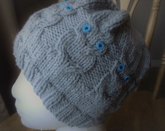 Hand knitted, Accessory,Teen or Adult Owl Beanie, Gray Hat, 22 dia. x 8 in. high,
