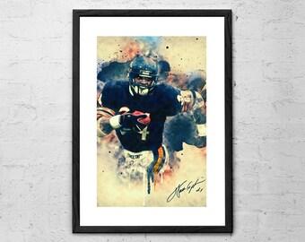 Walter Payton   Chicago Bears   Illustration   Football Poster   Football  Decor   Football Gifts