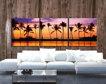 Paradise Beach Sunset art on Canvas - Beach Mural, Canvas art, Ocean Beach Print, Beach art, Multi panel Canvas set, Nature print,