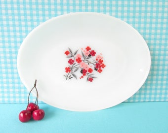 Fire King Primrose Platter - Milk Glass Serving Plate - Pink Floral - Oval Platter with Petite Flowers - Mid Century Vintage 1960's