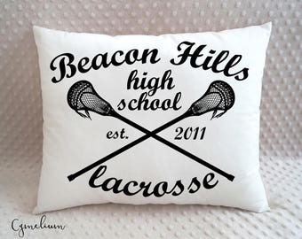 16 color options - Beacon Hills - Teen Wolf - high school lacrosse - pillow with filling