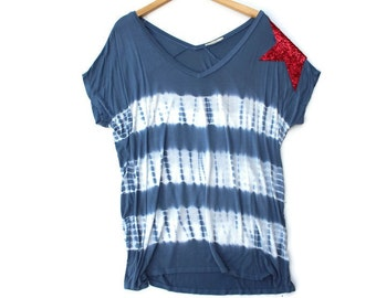 4th of July Shirt Women. American Flag Tee.  Sequin Star Tee TShirt Tunic. USA. America. Red White Blue. Fourth of July Womens Patriotic Tee