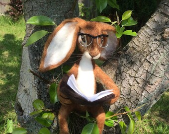 Handmade Needle felted OOAK Hare Bunny Rabbit 'Martha' reading her book