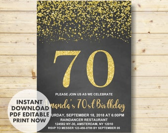 70th Birthday Invitation, 70th Birthday, Gold Birthday Invitation,  Birthday Party Invitation, INSTANT DOWNLOAD, Invitations for Women