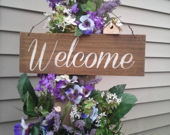Welcome Sign Hand Painted Reclaimed Wood HD-17