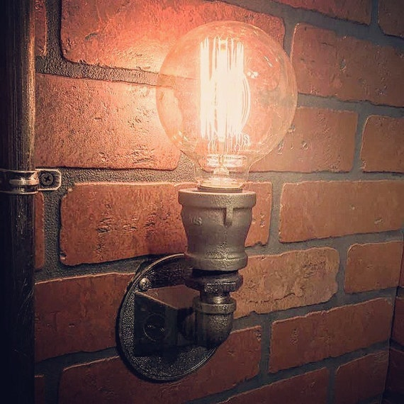 Steampunk Compact Wall Sconce Industrial Light. Cast Iron Wall