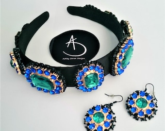 LOVE!!!! the colours Blue green crown earrings and brooch