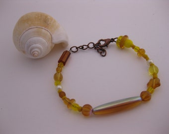 Iridescent Bright Yellow Beaded Bracelet - Happy Hippie / Yellow Rays of Sunshine, Mixed Array of Glass, Acrylic Peasant Beads, Bronze Clasp