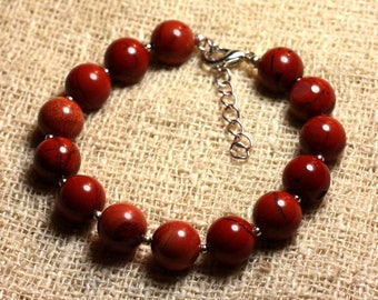 Bracelet 925 sterling silver and 10mm red Jasper - stone
