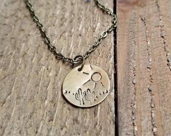 Desert Landscape Necklace - Cactus Necklace -Western Landscape Necklace - Nature Inspired Necklace