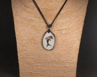 Carved Dolphin Tagua Nut Necklace