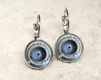 Camera lens earrings, camera earrings, camera jewelry, photography earrings HG199LB