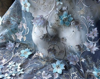 "SALE Aqua ""Alice"" 3D Lace Fabric with Rhinestones for Bridal, GRAD, Lyrical Dance, Ballet, Couture Gowns, Costume Design"