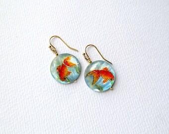 Gold Fish Earrings Koi Fish Jewelry Handpainted Gold Fish Jewelry Koi Fish Jewelry Gold Fish Dangle Earrings art lover gift for mother