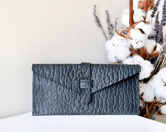 LEATHER ENVELOPE CLUTCH - Leather clutch, Evening clutch, Feminine clutch, Cosmetic pouch, Small clutch, Leather pouch - Black