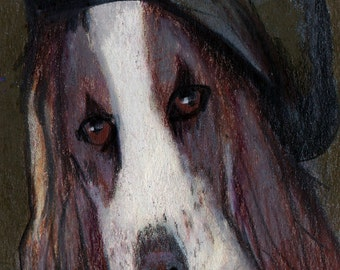 original art  aceo drawing victorian spaniel dog ancestor in beret anthropomorphic