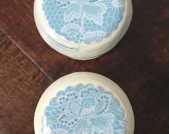 2 inch knobs, shabby cottage, French country, blue, lace,distressed, cabinet knobs, drawer pulls
