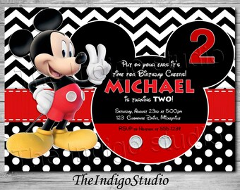 Mickey Mouse 2nd Birthday Invite Card - age Two Personalized invitation you Print