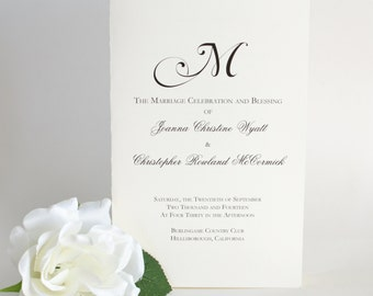 Printable Wedding Program, Folded Wedding Program, Monogram Program, Wedding Ceremony Program, Natalie Wedding Program DIY Printable 8.5x11