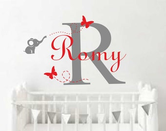 Wall decals with name sticker Elephant Children's room decor-elephant nursery wall sticker-Elephant name wall Decal-Baby elephant NR229