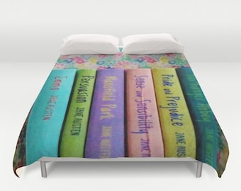 Jane Austen Library Comforter or Duvet Cover: home decor, bedding, book, books, library, librarian, pastel, pink, purple, yellow, blue