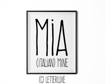 Mia Name Meaning Art - Printable Baby Shower Gift - Nursery Printable - Digital Art Print - Nursery Decor - Typography Wall Decor