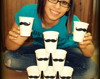 12 Mustache Paper Party Cups-Mustache Cups-Little Man Party-The Handlebar-white cups-White Paper Cups-Mustache party-Mustache theme