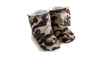 Camo baby, Baby booties, Camouflage baby, Crib shoes, Camo baby shower gift, Camo baby boy booties, Baby shoes, Hunting baby, Boys slippers